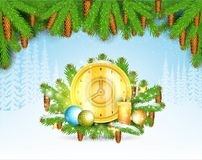 Winter frost landscape with round gold clock on fir tree branch under pine-tree element. Christmas background. Winter frost landscape with round gold clock on vector illustration