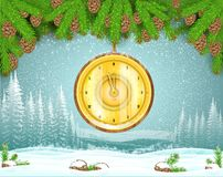 Winter frost landscape with round golden clock hung from fir tree branch. Christmas background stock illustration