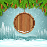 Winter frost landscape with round wood border from fir tree branch Royalty Free Stock Photo