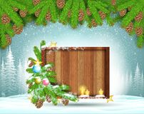 Winter frost landscape with square wood border stand on snow under fir tree branch. Christmas background vector illustration