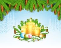 Winter frost landscape with three candels on fir tree branch under pine-tree element. Christmas background royalty free illustration