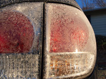 Winter Frost on Vehicle Tail Lights Royalty Free Stock Photos