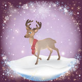 Winter frosty snow background with a Christmas Deer Royalty Free Stock Photography