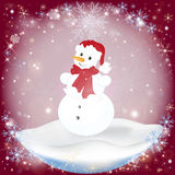 Winter frosty snow background with a Snowman Stock Image