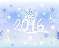 Winter frozen background with snowflakes, star and inscription 2016. White inscription with icicles on a blue background resembling frozen window royalty free illustration