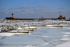 Winter Frozen Docks Old Ship Stock Images