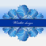 Winter frozen glass background. Blue hoarfrost border stripe design. Royalty Free Stock Photos