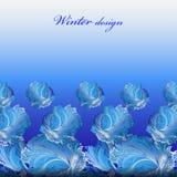 Winter frozen glass background. Blue hoarfrost border stripe design. Stock Photography