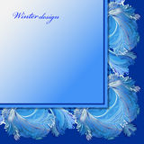 Winter frozen glass background. Blue wedding frame design. Text place. Cold winter ice ornament angle frame. Hoarfrost border decor background. Winter blue Stock Image