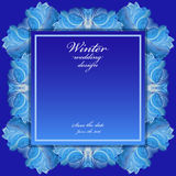 Winter frozen glass background. Blue wedding frame design. Text place. Cold winter ice ornament wedding frame. Hoarfrost texture decor background. Winter blue Stock Photography