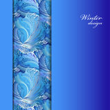 Winter frozen glass background. Stripe border design. Text place. vector illustration