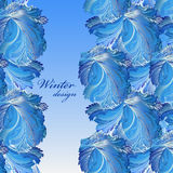 Winter frozen glass background. Stripe border design. Text place. stock illustration
