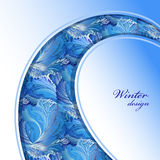 Winter frozen glass background. Swirl border design. Text place. Royalty Free Stock Image