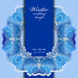 Winter frozen glass frame. Blue wedding frame  background. Vector illustration. Royalty Free Stock Photography