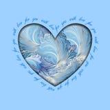 Winter frozen glass heart design. Love card. Royalty Free Stock Photos