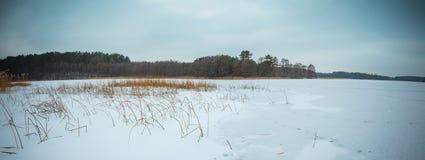 Winter frozen lake landscape. Stock Photo