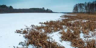 Winter frozen lake landscape. Royalty Free Stock Image