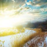 Winter frozen river Stock Image