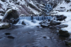 Winter frozen waterfall Stock Photo
