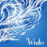 Winter frozen window background. Ornament of ice crystals on the glass vector illustration