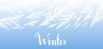 Winter frozen window background. Ornament of ice crystals on the glass stock illustration