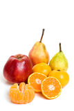 Winter fruits. Assorted winter fruits on white background Royalty Free Stock Photo