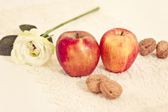 Winter fruits and nuts table decoration Royalty Free Stock Photos