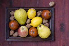 Winter fruits on wooden table. Some fruits and nuts in frame on a wooden background Royalty Free Stock Images