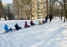 Winter fun. Driving in a sledge Royalty Free Stock Photos