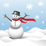 Winter Fun. Illustration of a happy Snowman in Snowbank, snowflakes falling around, and wind blowing snow royalty free illustration