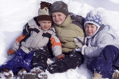 Winter fun. Sister and brothers royalty free stock images