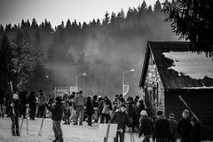 Winter fun. Busy day in Poiana Brasov ski resort in Romania Stock Photo