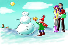 Winter fun. A family is outdoor having winter fun: a child is making a snowman, his parents - man and woman are preparing carrot, you can see a kid on a sled Stock Image