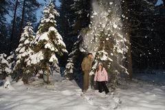 Winter fun in forest Royalty Free Stock Photo