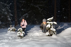 Winter fun in forest Stock Photos
