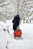 Winter fun. a girl and a boy are sledding. Winter fun. a girl and a boy are sledding stock image
