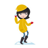 Winter fun. Girl playing with snow. Snow ball fight. Vector character  on white background Stock Images