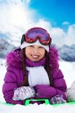 Winter fun for girls Stock Images