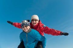 Winter fun - happy senior couple Stock Photography