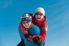 Winter fun - happy senior couple Royalty Free Stock Image
