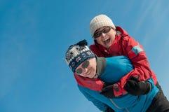 Winter fun - happy senior couple Stock Images