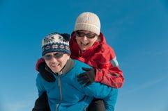 Winter fun - happy senior couple Royalty Free Stock Photos