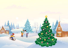 Winter fun. Illustration of winter fun outdoors at snowy day vector illustration