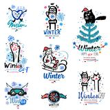 Winter fun logo and illustration. Abstract fun logo Royalty Free Stock Images