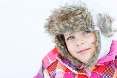 Winter fun - Portrait of adorable happy child girl Stock Images
