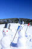 Winter fun scene with snowman Royalty Free Stock Photos