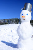 Winter fun scene with snowman Royalty Free Stock Photography