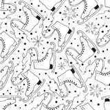 Winter fun seamless pattern with ice skate and snowflakes. Stock Photo