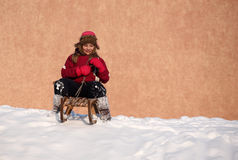 Winter fun on a sleigh Royalty Free Stock Images