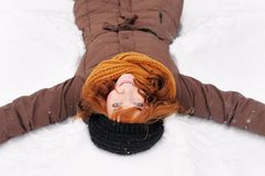 Winter fun - snow angel Stock Image
